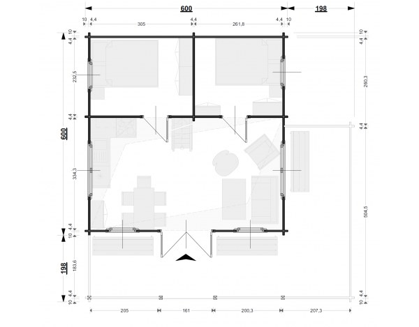 Domek Domek W12 6x8 45mm 6x6 Taras 6x2 3