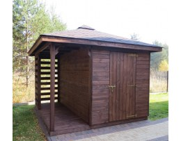 DOMEK MDN4 dach 400x400cm, domek 3x4m, drewutnia 1x4m